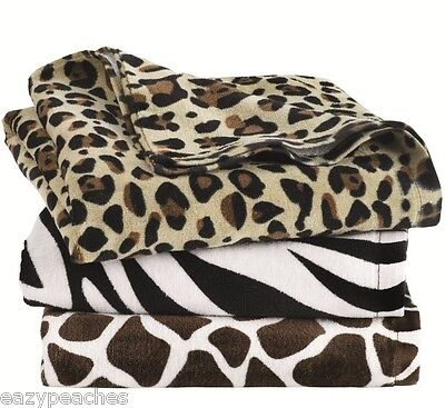 "CARMEL Company ANIMAL PRINT VELOUR BEACH TOWEL 30"" x 60"" ZEB"