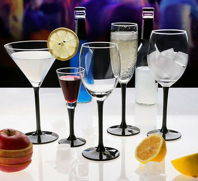 6 Tall Black Stem Wine, Martini Cocktail, Champagne, Liqueur Shot Glasses Martini Shot