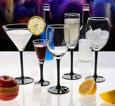 6 Tall Black Stem Wine, Martini Cocktail, Champagne, Liqueur Shot Glasses ()