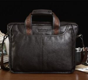 Mens-Genuine-Leather-Handbag-Messenger-Shoulder-Briefcase-Laptop-BAG-Purse-14