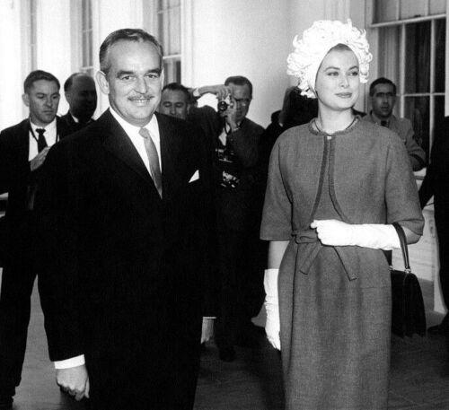 PRINCE RAINIER and PRINCESS GRACE of Monaco at White House-May 1961 Photo