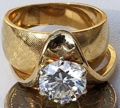 1.25 ct. Round Brilliant-cut Diamond Engagement Ring 14k Yellow Gold Bridal Set Set Brilliant Diamond