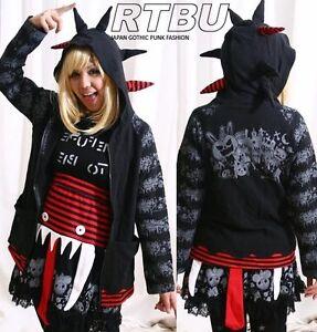 Gothic-Punk-Rebel-Maniac-SPIKE-Hair-Head-Hoody-Jacket