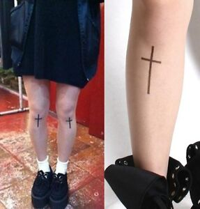 Japan-Harajuku-Goth-Punk-Crucifix-Cross-Tattoo-Airbrush-Sheer-Pantyhose-Tights
