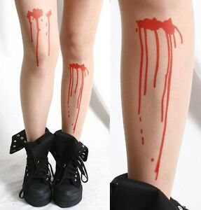 Halloween-Horror-Makeup-Costume-Punk-Wound-Bleed-TrueBlood-Nude-Pantyhose-Tights
