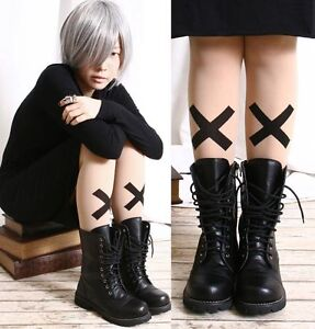 SUPER-BIG-X-Cross-Punk-Rock-EMO-Tights-Semi-Opaque-Nude-Airbrush-Skin-Pantyhose