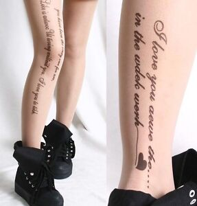 Chic-Fashion-Trendy-Signature-Script-Text-Tattoo-Nude-Sheer-Pantyhose-Hoisery