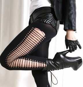 False-Crossing-Laceup-Strapy-Gladiator-Punk-Rock-emo-Opaque-Tights-Pantyhose