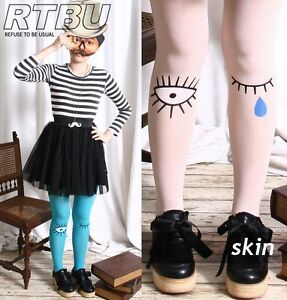 Tear-Drop-Open-Shut-Eye-Wink-Opaque-Cartoon-Print-Color-Candy-Tights-Pantyhose