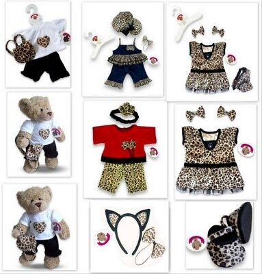 Leopard Teddies (Teddy Bears Clothes fits Build a Bear Teddies Girl Outfit | Dress Leopard Detail)
