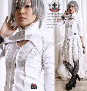 Jrock-Punk-Visual-Kei-Artist-Gothic-Lolita-Denim-Cropped-Bolero-Jacket-Vest-Set