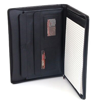 Leather Zippered Writing Pad Portfolio Briefcase Organizer Tablet Carrying Case on Rummage