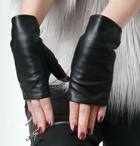 Genuine-Lamb-Quilted-Leather-Fingerless-Bow-Tie-Knot-Punk-Party-Wrist-Lady-Glove