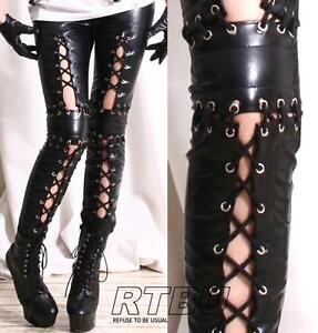 Punk-Armor-Corset-Laceup-Vegan-Leather-Low-Rise-Zip-Black-Ankle-Pants-Legging