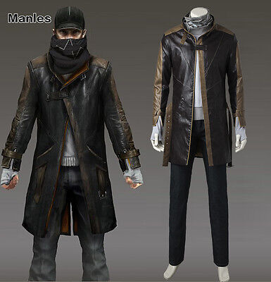 WATCH DOGS Aiden Pearce Cosplay Costume Trench Coat Mask Cap Scarf Game Outfit - Watch Dogs Costume