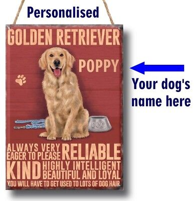 PERSONALISED Golden Retriever Dog Breed Plaque Sign gift ANY NAME wall vintage - Retriever Wall Plaque