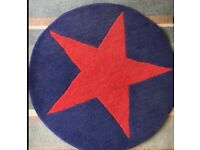 Round navy and red kids rug 100% wool