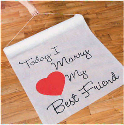 100' Today I Marry My Best Friend Wedding Aisle Runner Long Bridal Heart White](Marry My Best Friend)
