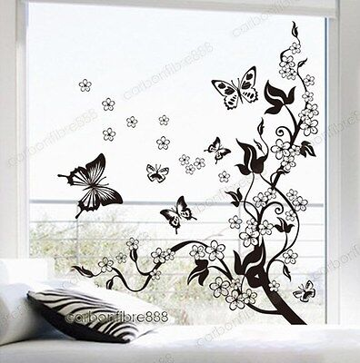 Home Decoration - BUTTERFLIES VINE FLOWERS Wall Stickers Art Decal Wallpaper Home Decor Removable
