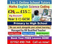 Primary & High School Tutors Teachers. GCSE English, Maths, Science, Coding, A levels Tuition
