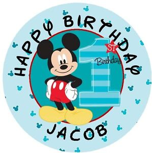 108 Mickey Mouse 1st First Birthday Fun To Be One Kiss Sticker Personalize
