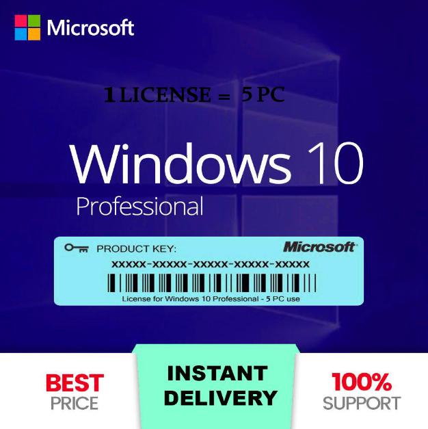 Instant'Genuine Win-10 Pro 32/64 Bit Activation License Key X5