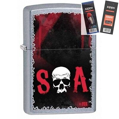 Zippo 28836 Sons Of Anarchy Soa Lighter With  Flint   Wick Gift Set