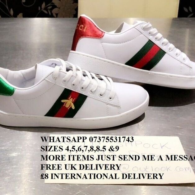 bff83f5b9ad GUCCI ACE BEE SIZE 9 WHITE MENS