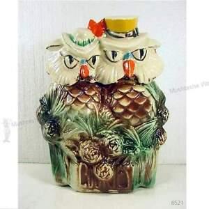 Vintage Pottery Mccoy Cookie Jar Mr Amp Mrs Owl 034 When