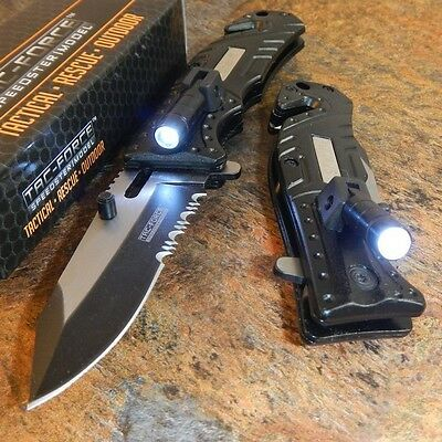 TAC-FORCE Black SHERIFF Spring Assisted Open LED Tactical Re