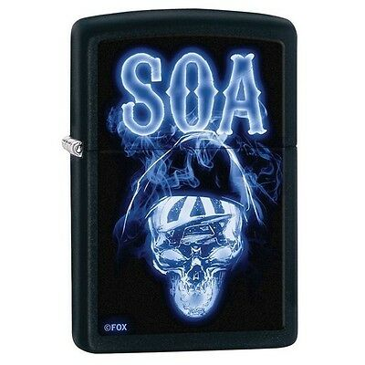 Zippo 29317 Soa Sons Of Anarchy Skull Black Matte Finish Windproof New Lighter