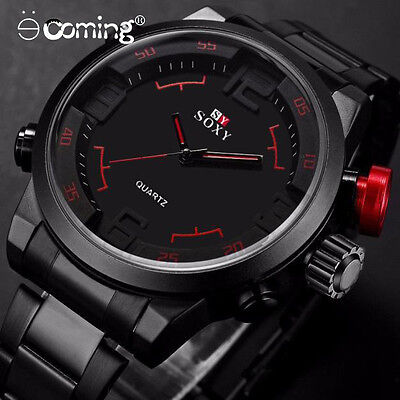 $3.99 - Sport Mens Luxury Army Watch Stainless Steel Waterproof Analog Quartz reloj USA