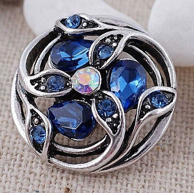 Silver Blue Rhinestone Flower Opal 20mm Snap Charm For Ginger Snaps -
