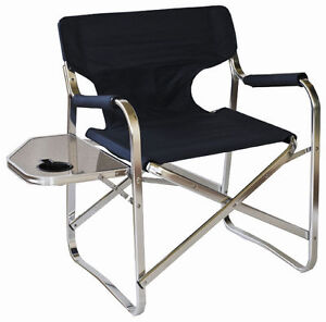 2 x FOLDING LIGHTWEIGHT ALUMINIUM DIRECTORS CAMPING CHAIRS WITH SIDE TABLE