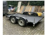 Small car trailer transporter with ramps twin axle
