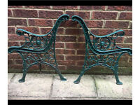 Cast iron bench ends with lion head