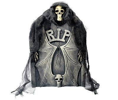Sensnemann Grabstein schauriges Grabmal mit höllischem Dämon dahinter Halloween