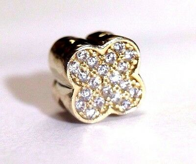 Cute! Solid 14K Yellow Gold Pave CZ Clover European Charm Pendant Slide NEW