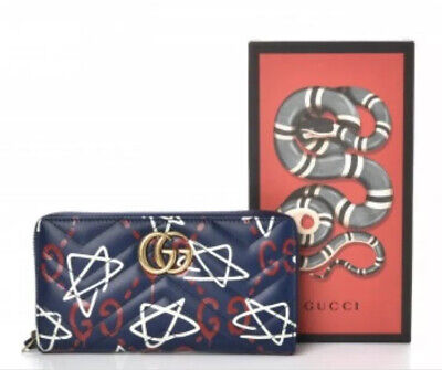 Gucci Wallet Clutch GG Marmont Ghost Zip Around Long leather Women Navy