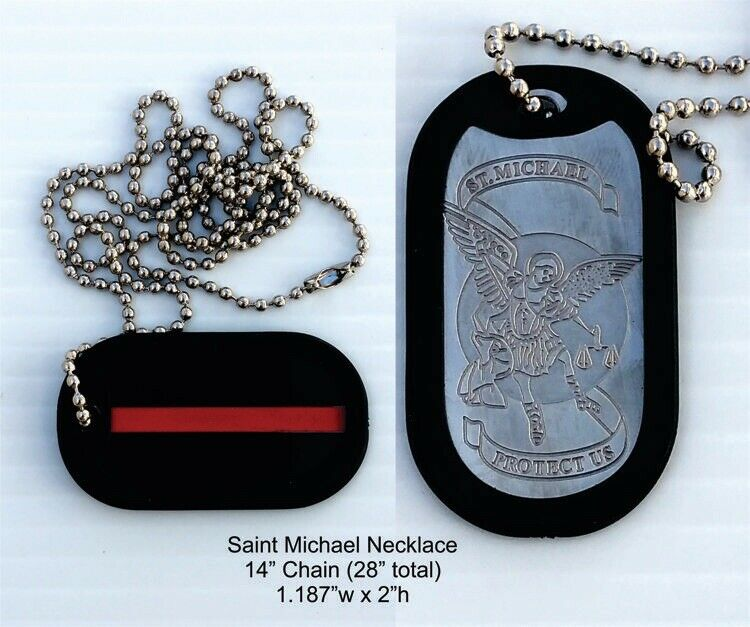THIN RED LINE DOG TAG NECKLACE FIREFIGHTER