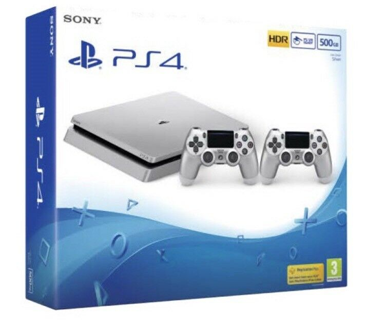 PS4 silver 500gb with 2 controllers and 2 games