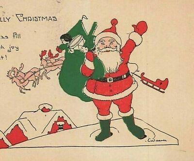 1920s Style Purses, Flapper Bags, Handbags c1920s Santa Claus Rooftop Reindeer Toys Bag Sack Christmas P300 $13.05 AT vintagedancer.com