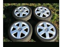 """4x 17"""" 5x100 GENUINE AUDI TT QUATTRO VW SEAT GT TDI SPORT ALLOY WHEELS POLO GOLF AUDI A1 A3 *MINT*"""