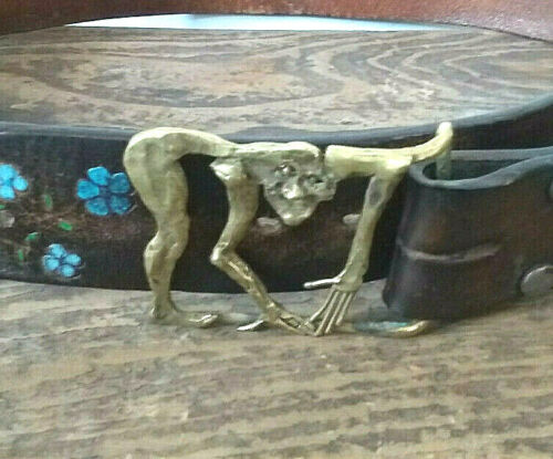 Vintage 1971 Tooled Leather Belt w Mushrooms & EXTRAORDINARY Brass Buckle