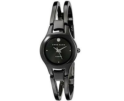 Anne Klein Women's Diamond-Accented Gunmetal Bangle Watch New