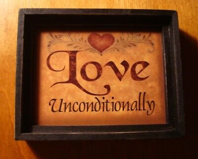 Country Primitive Shadow Box Sign LOVE UNCONDITIONALLY Heart Kitchen Home Decor