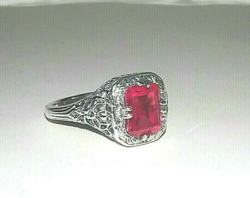 Sterling Silver Filigree Bright Syn Ruby Vintage Inspired 2.0 carats Ring size 8