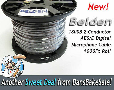 Belden 1800B 2-Conductor AES/EBU 24 AWG Digital Microphone Cable 1000 Ft Roll for sale  Shipping to India