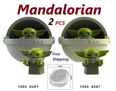 2pcs Star Wars Baby Yoda Mandalorian Custom Mini Block Figure Toys For Lego Moc