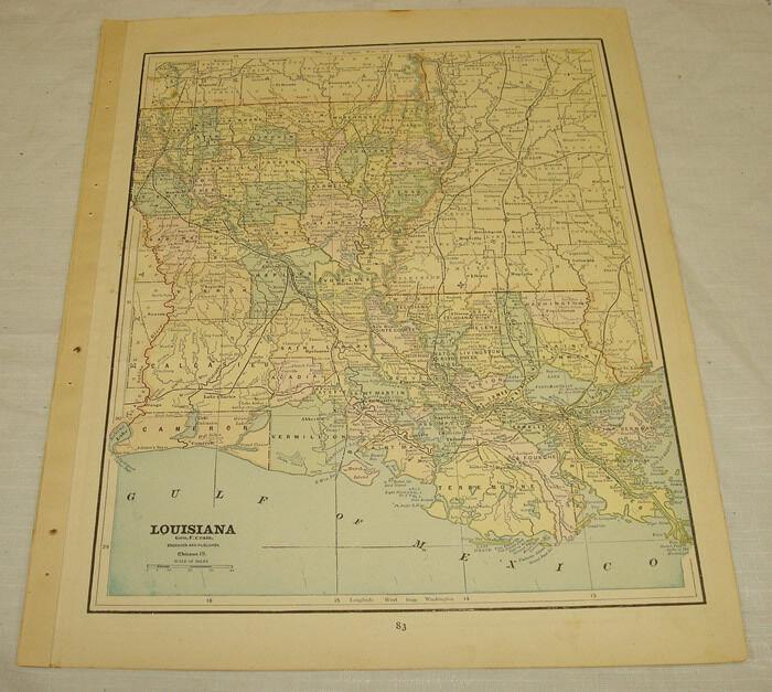 c1891 COLOR MAP of LOUISIANA, b/w ARKANSAS